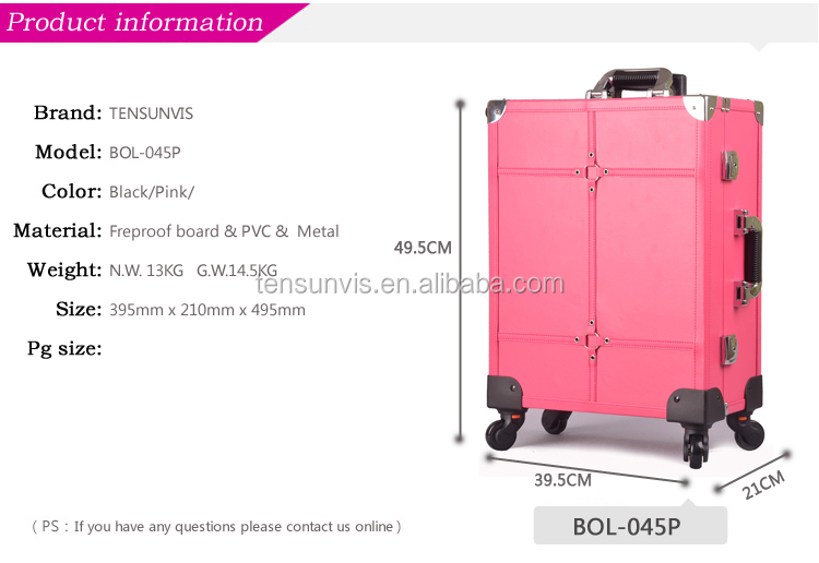 Lighting Rolling Cosmetic Case With Mirrior,Professional Makeup ...