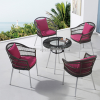 All weather black round rattan weaving outdoor furniture chair and table Dia 80cm used patio furniture