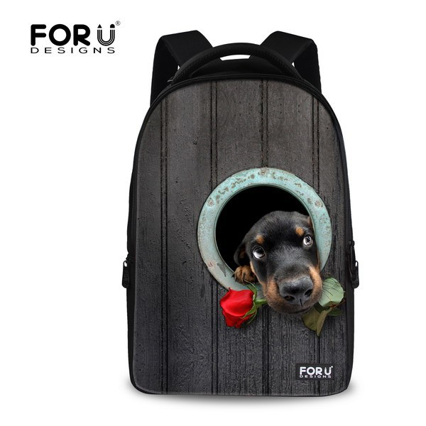 FOR U DESIGN Hole Dog Fun Book Bags Back Packs for Computer with Multi-pockets