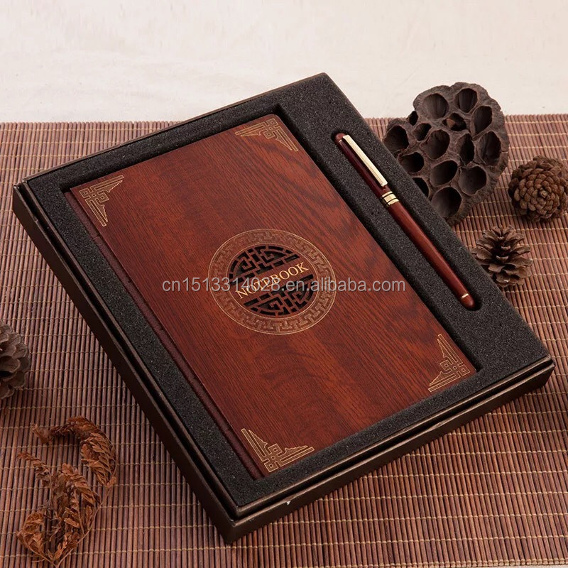 Custom Eco-friendly Hardcover Bamboo Wood Cover Spiral Notebook Gift Set With Pen