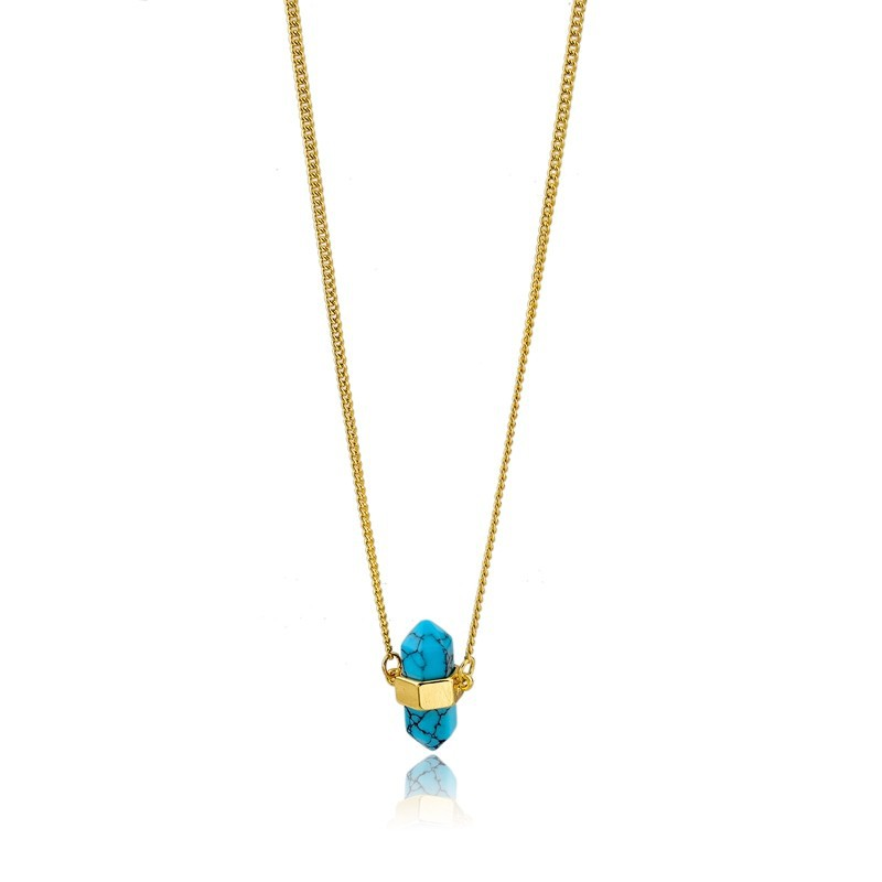 Gemstone Jewellery Wholesale Turquoise Pendant Gold Plating Chain Neckalce