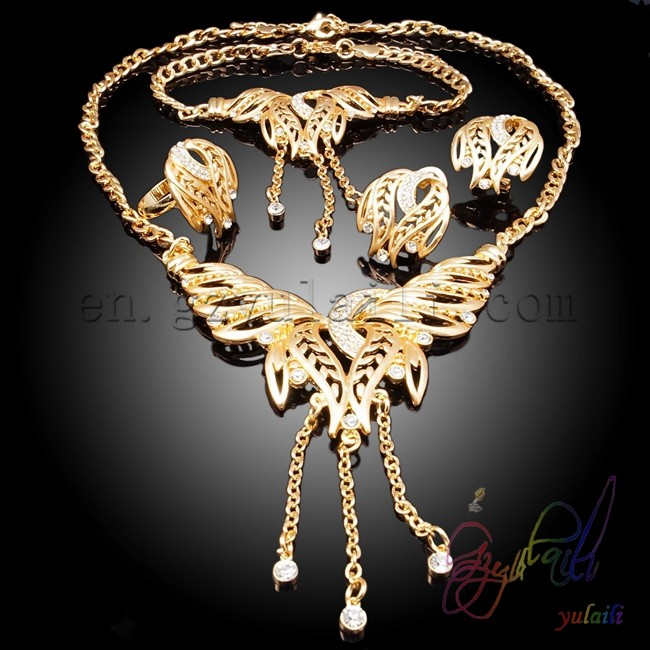 Ew Design 2015 Fashion Necklace Jewelry Set Elegant Big Gold