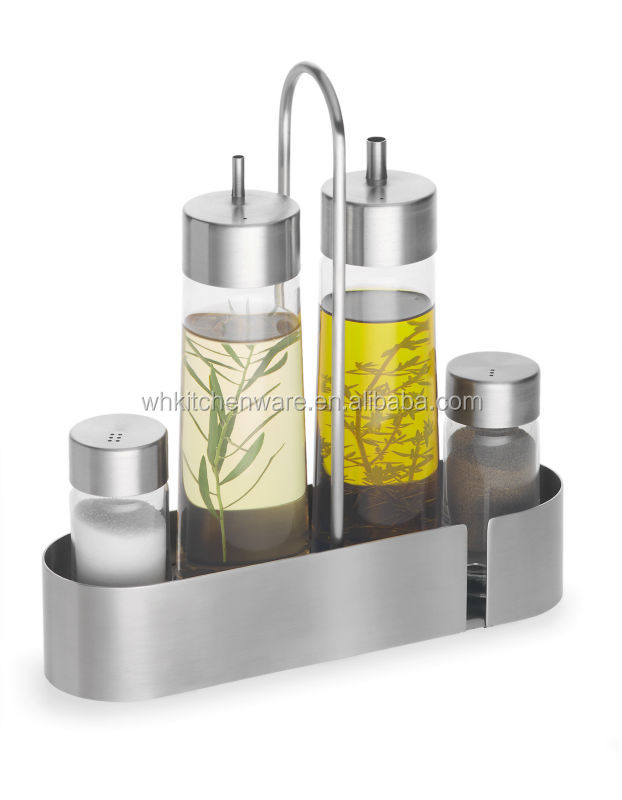 4 pieces salt shakers stainless steel condiment set for online retail shop