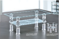 Siding glass design end table small center bed sofa set with side table C-367A