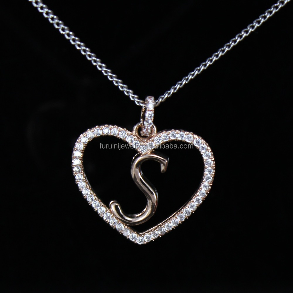 az small appl bling s silver jewelry neckalce necklace letter pendant initial