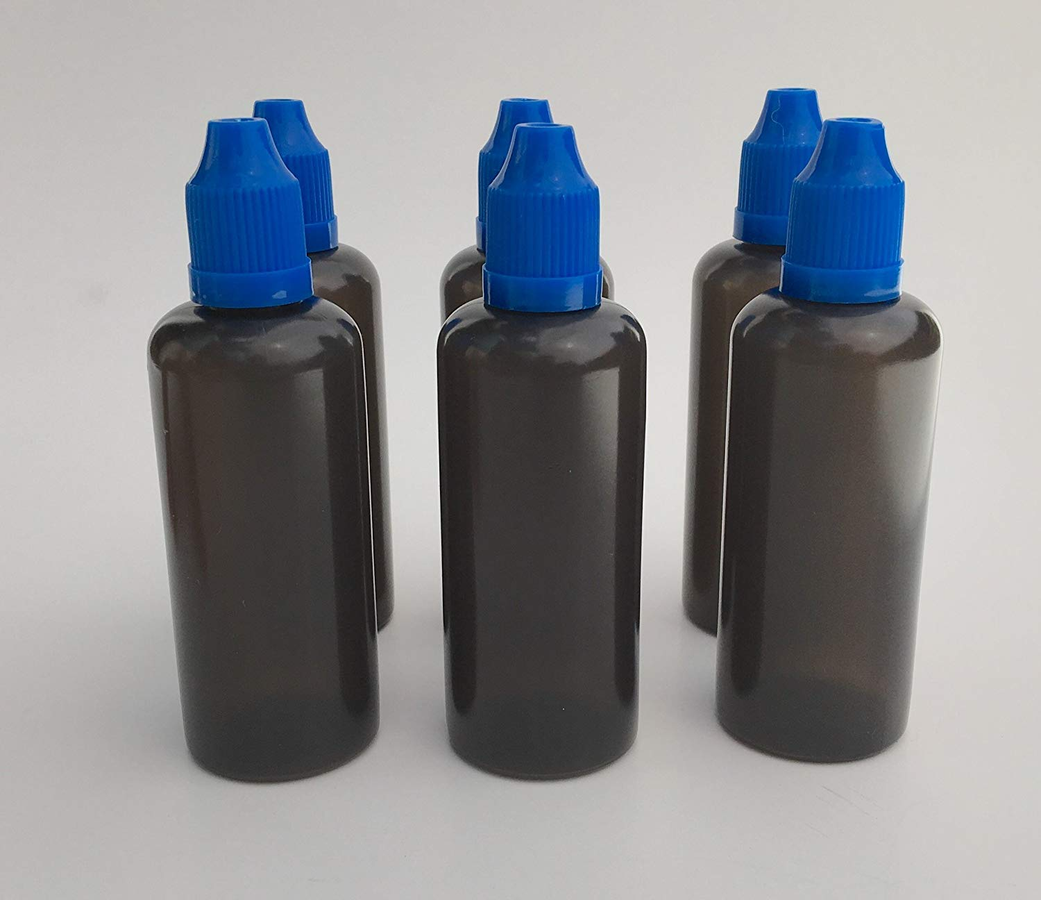 U-Need-A-Bottle (6) Pack 2 oz Dark Black Plastic Bottle - 60 ml - BPA FREE - LDPE PE - EASY SQUEEZE Liquid Dropper Tip - Small Empty ROUND, Best For Tincture E Cig & Juice w/ Childproof Cap (Blue)