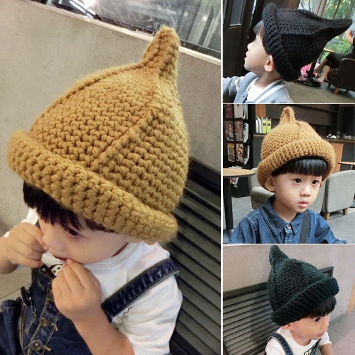 Korean Style Knitted Cap Baby Hat Toddler Kids Girls Boys Nipple Knitted Hat Curling Cap