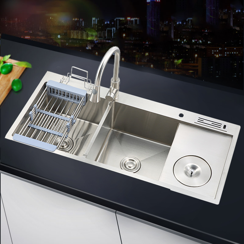 10045 Corner deep undermount stainless steel double kitchen sink with faucet