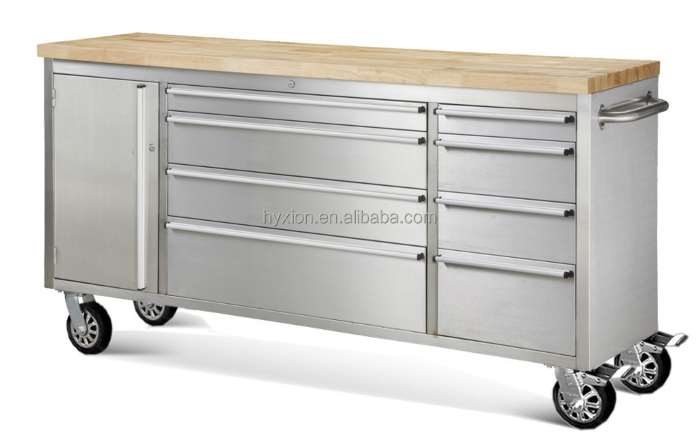 72 Inch Stainless Steel Tool Trolley Cabinet With Wood Top Buy