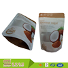 Food Grade Custom Printed Stand Up Clear Front Window Ziplock Plastic Empty Coconut Sugar Packaging Organic Bags Food
