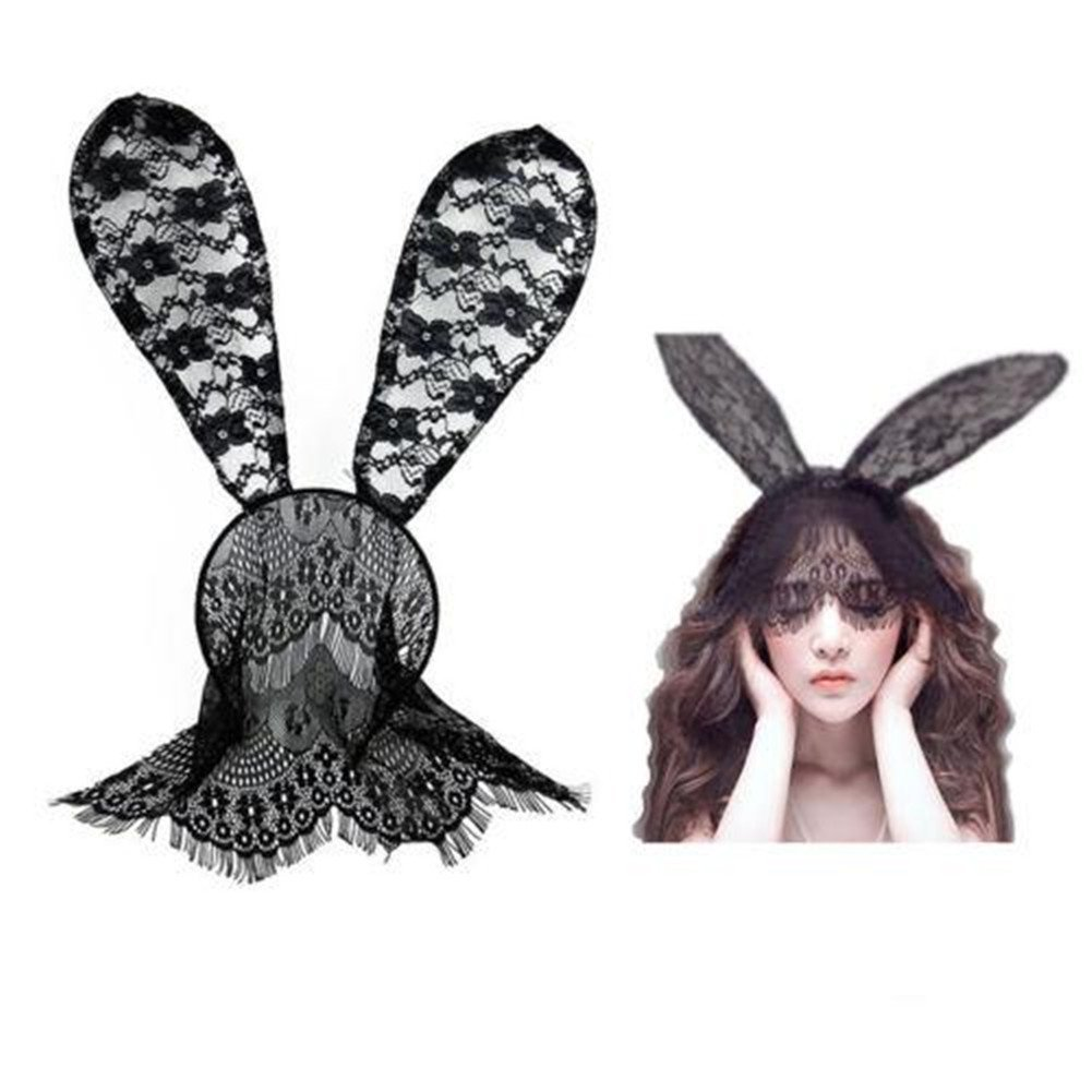 56aa1df179b Get Quotations · ZWZCYZ Women Lady Bunny Rabbit Ears Sexy Rabbit Ears  Headband With Lace Eye Mask Veil Headband
