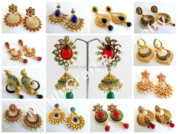 bollywood wear style indian product earrings south jhumka earring party wholesale detail