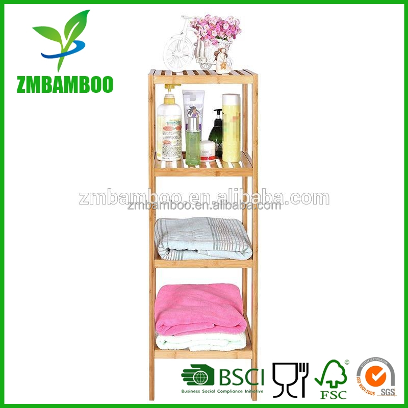 100% Bamboo Bathroom Shelf 4-Tier Multifunctional Storage Rack