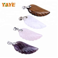 Bulk Wholesale Gemstone Pendant Natural Stone Pendant Carved Angel Wing Pendant