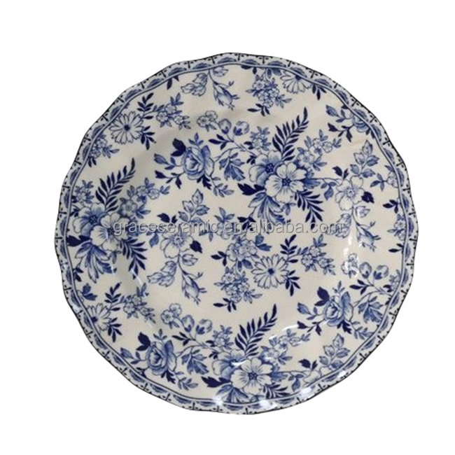 Wholesale Flower <strong>Plate</strong> Blue and White Porcelain Dinner <strong>Plate</strong> sets for Promotion