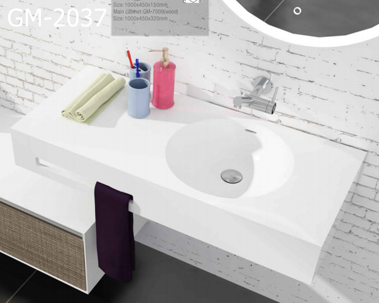 GM-2037   CUPC/CE   white  rectangular  solid surface artificial stone  wall-hung basin