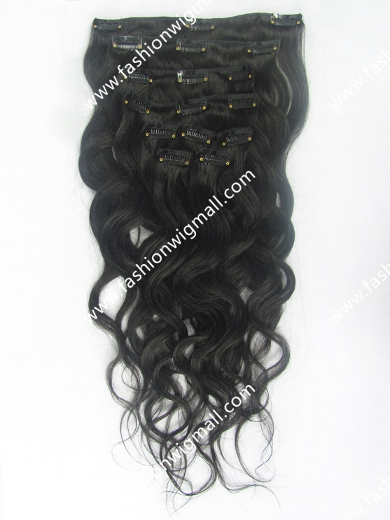 "9pcs/set 17 clips 18""20""22""24"" Full Head Set #1b Black 100% Indian Natural Remy Human Hair Clip In Extensions"