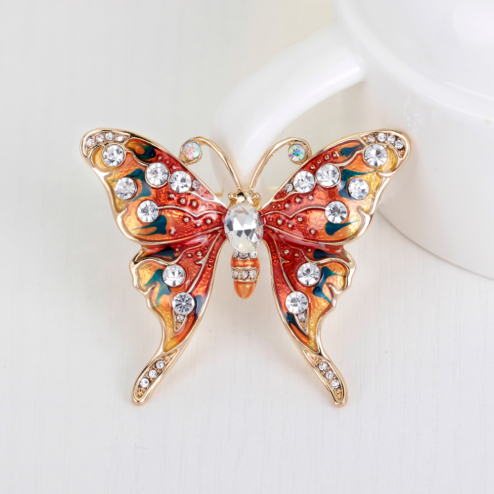 Zinc Alloy KC Gold Red Butterfly Austrian Crystal Brooch