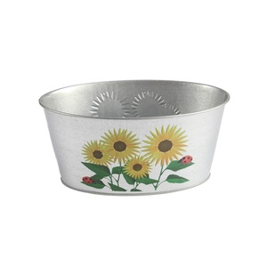 Custom Oval Metal galvanized Flower pot / planting metal bucket for garden