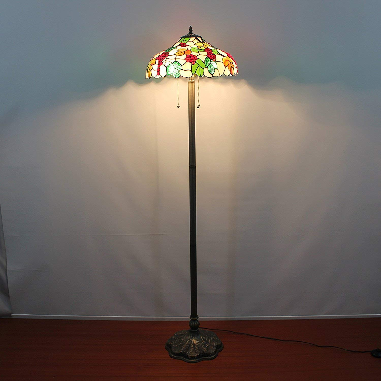NN Floor Lamp 16-Inch Grapes European Pastoral Style Elegant Luxury Creative Handmade Stained Glass Floor Lamp