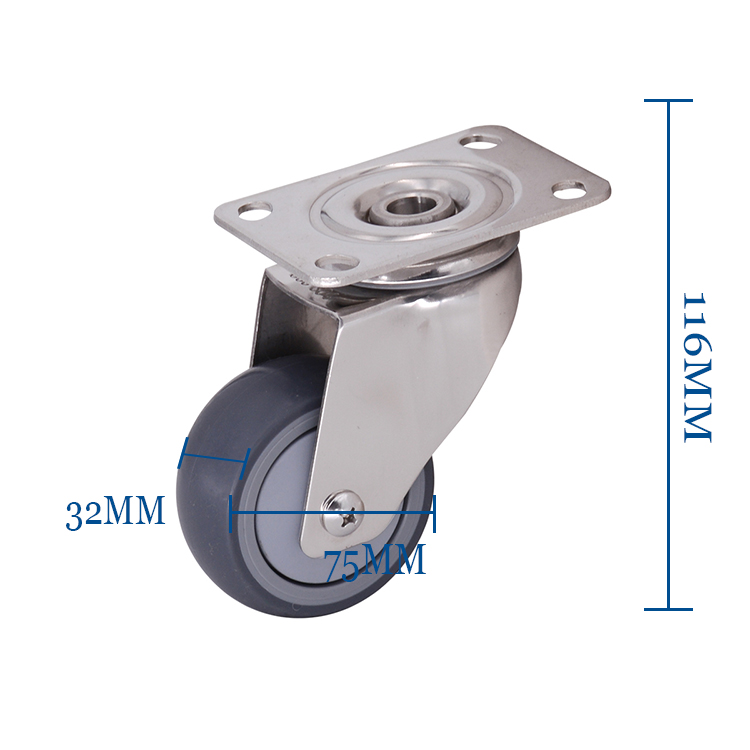 "Hot Sell 3"" TPR Hole Top-plate 360 Degree Swivel Caster For Medical"