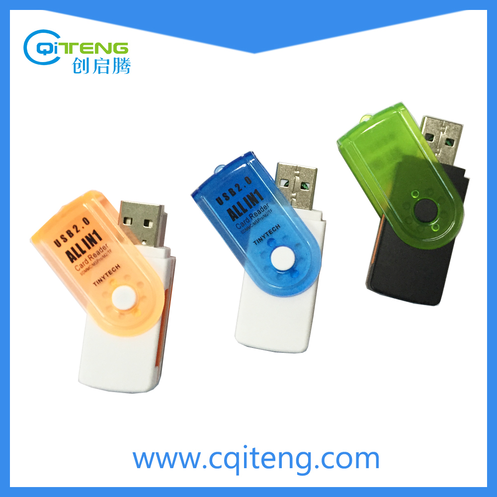 USB 2.0 Swivel Card Reader SD/MMC,TF/Micro SD,MS,M2 Swivel Card Reader