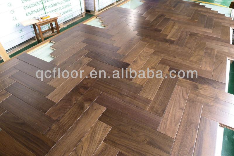 Goedkoopste Houten Vloeren : China productie ben walnoot ontworpen visgraat houten vloeren