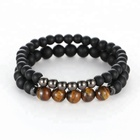 2pc Natural stone Bracelet Beaded Black Mantra Prayer Beads Buddha Bracelet for Women and Mens men jewelry viking bijoux