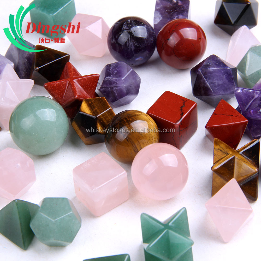 Wholesale Charming Multicolored Gemstone Platonic Solid Set Sacred Geometry Set