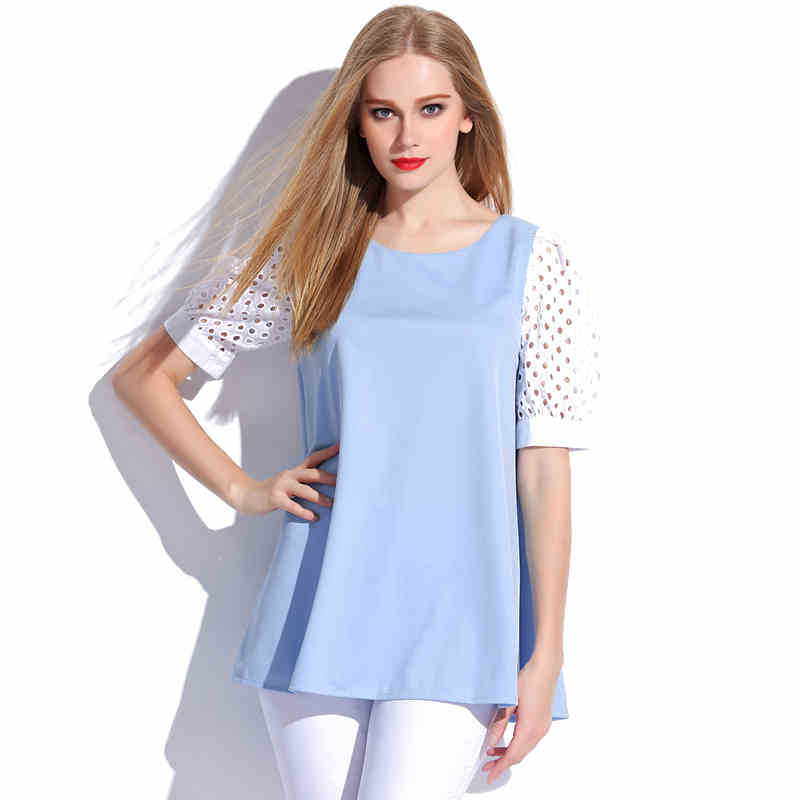 59a9f4c48dd Get Quotations · Plus Size Dress for Women Casual Dress Patchwork Lace  Sleeve Loose Dress 2015 Summer Fashion Pleated