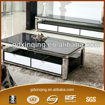 Beau Latest Design Artifical Mdf Wood Drawer Stainless Steel Frame Living Room  Furniture Center Table C350