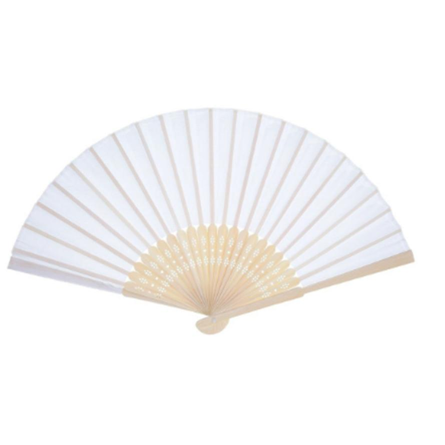 Hand Held Fan Branco Leques De Papel De Bambu Fan Dobrado