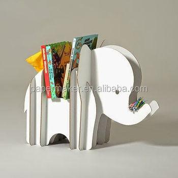 Recycle Cute Kids Cardboard Bookshelf Elephant Shape