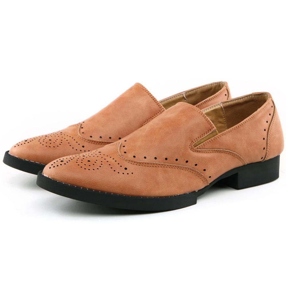 Insun Mens Vintage Slip on Wing Tip Loafers