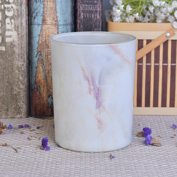Hot Popular Home Wedding Decorative Marble Effect Glass Candle Holders