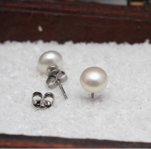 Wholesale Freshwater Pearl Earrings Natural Pearl stud Earrings 7-8mm Pearl stud Earring
