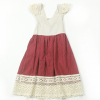 newest cute kids girl clothes organic linen children dress young girl solid frock