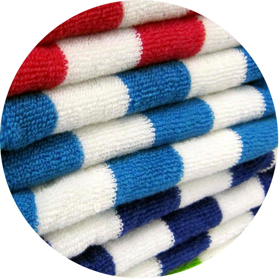100% Cotton Colored Striped Yarn Dyed Beach Towels, Striped Bath Towels