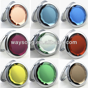 wholesale cosmetic mirrors mini crystal pocket mirror mix color MR-001