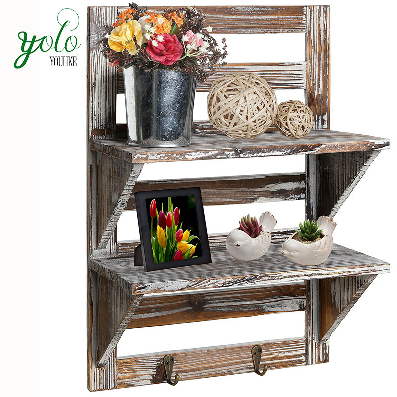 2-Tier Storage Rack Rustic Wood Wall Mounted Organizer Shelves