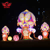 Holiday big red lantern brighten city Chinese silk cloth lantern festival