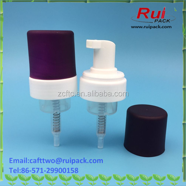 43mm plastic foam pump dispenser with matte purple cover, foaming pump with frosted cap