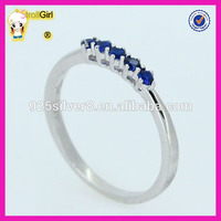 Custom jewelry value 925 silver round sapphire zircon engagement blue stone ring