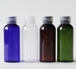 75bd2f172f92 Pet plastic 50 ml clear cosmetic bottle with plastic or aluminum lid