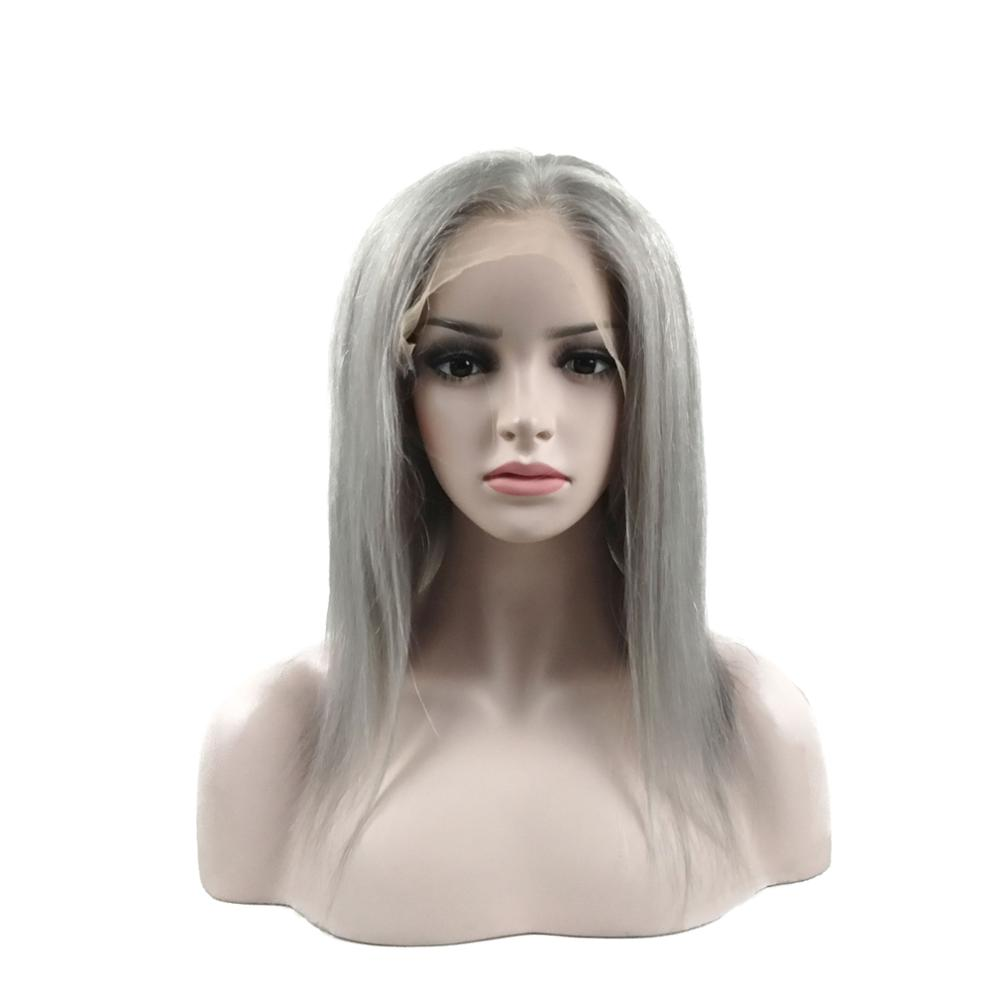 Hot Sale 40% off grey wig,transparent lace human hair gray lace front wig, Virgin Brazilian silver gray human hair lace wig.