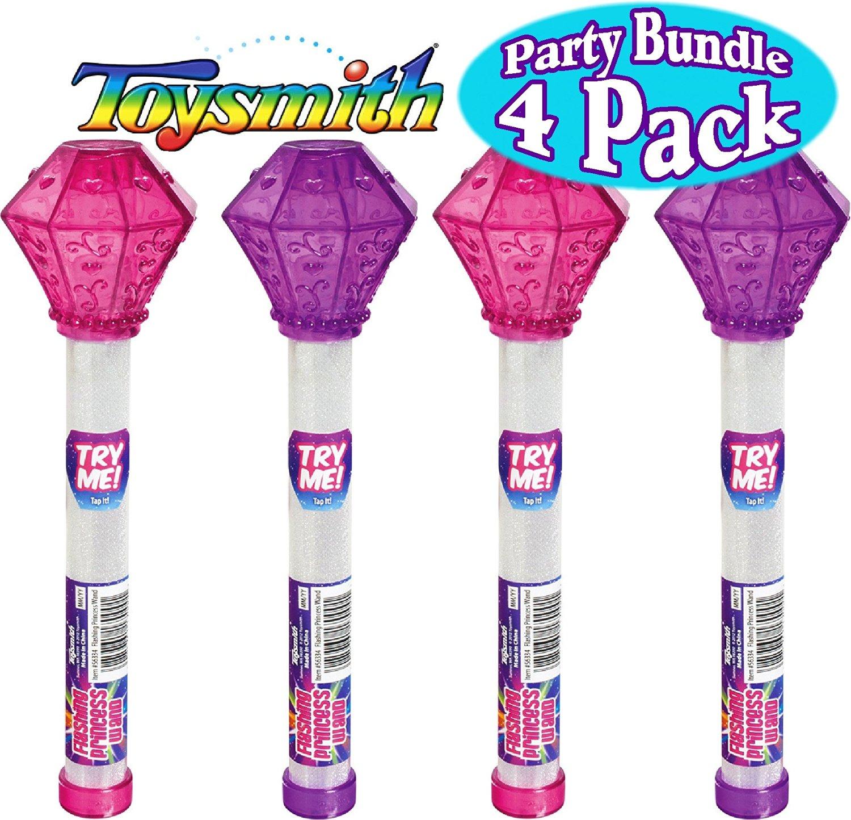 "Toysmith 9"" Light-Up Flashing Princess Wand Pink & Purple Party Set Bundle - 4 Pack"