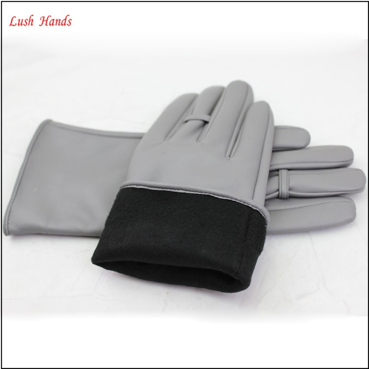 2016 ladies spring fashion grey all kinds of leather hand gloves with ring