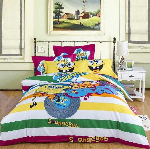 spongebob reactive print 3d bedding set quilt cover bed sheet 3d bedding set - Spongebob Bedroom Set