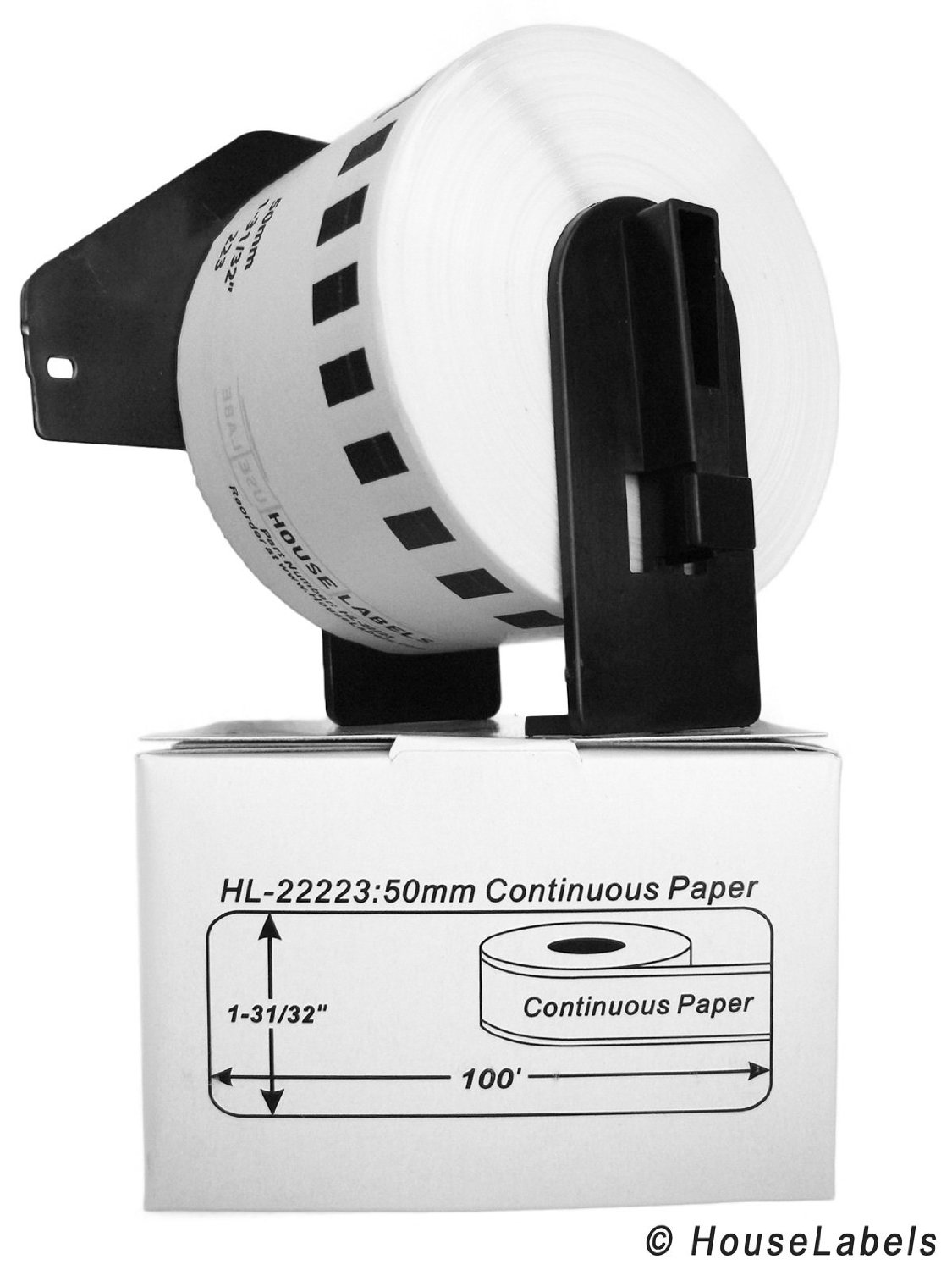 "22 Rolls; Continuous Paper, BROTHER-Compatible DK-2223 Continuous Paper Labels with ONE (1) reusable cartridge (1-31/32"" x 100'; 50mm30.48m) -- BPA Free!"