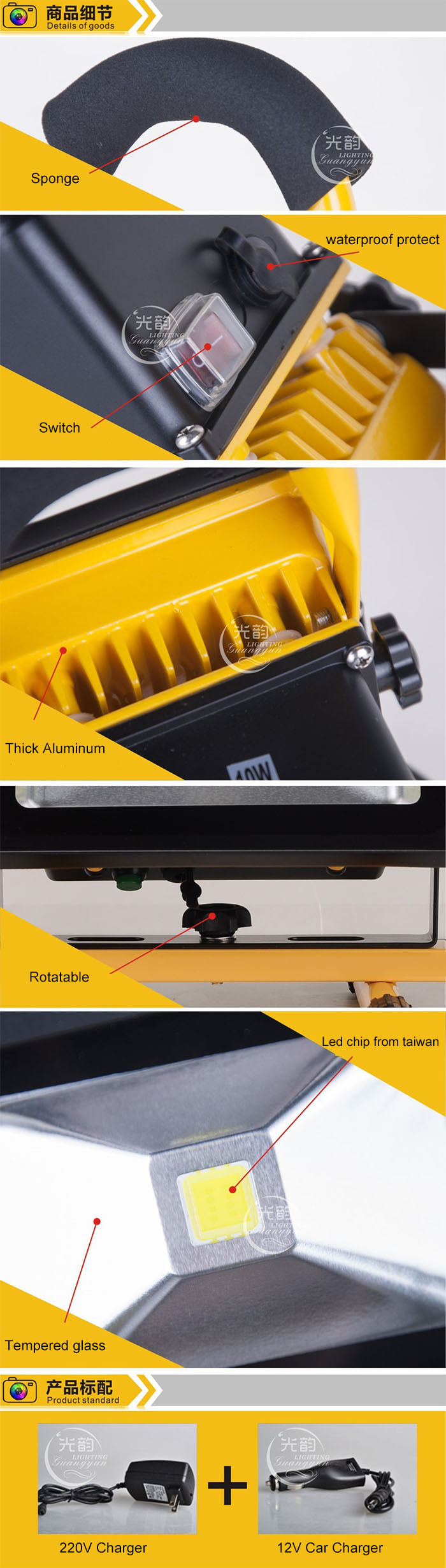Led Flood Light Rechargeable Portable Led Battery Work Light With ...
